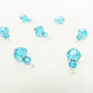 Light Blue Charms - 8 Pcs. Crystal Charms - Handmade Beaded Charms - DIY Jewelry Parts - Crystal Jewelry Supplies - Jewelry Making - Gifts