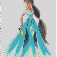 Disney Designer Princess Doll Jasmine (Aladdin) Cross Stitch Pattern PDF (Pattern Only)