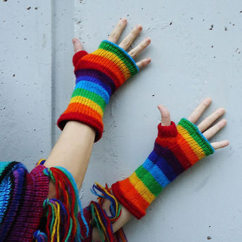 Rainbow Knit  Woollen Mittens - Hand warmers - Men - Woman- Fleece lining