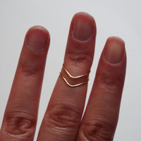 Gold Chevron Midi Ring Set / Thin Stacking Rings / Set of Rings / Adjustable Rings /  Statement Rings