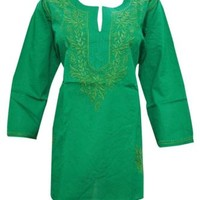 BOHO WOMEN'S COTTON TUNIC GREEN EMBROIDERED INDIAN SUMMER KURTI BLOUSE L
