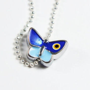 FREE BUTTERFLY Blue Evil Eye Silver Necklace, Summer, Gift, Wedding