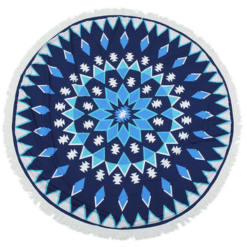 Blue Diamond Mandala Beach Towel
