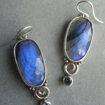 One of a Kind Sterling Silver Labradorite Earrings