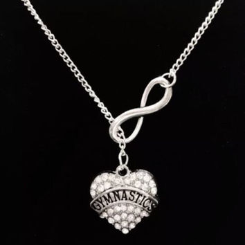 Infinity Crystal Gymnastics Gymnist Sports Gift Lariat Style Necklace