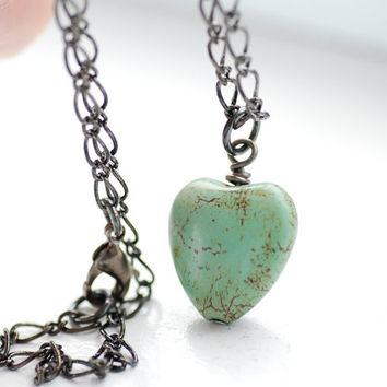 Mint Green Heart Necklace, Green Heart Pendant, Pendant Necklace, Pastel Necklace, Seafoam Heart Necklace, Stone Heart and Gunmetal - Softl