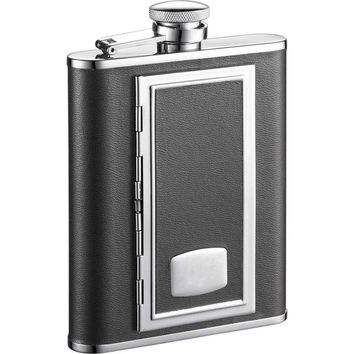 Visol SP Black with Built-In Cigarette Case 6-ounce Liquor Flask | Overstock.com Shopping - The Best Deals on Bar & Wine Gifts