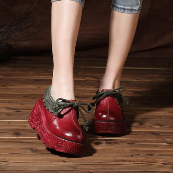 2017 Spring High Heel Shoes Women Pumps Genuine Leather Platform Wedges Round Toes Lacing