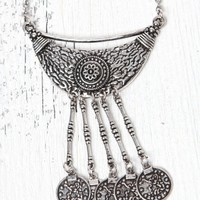 LA Hearts Silver Coin Long Necklace - Womens Jewelry - Silver - One