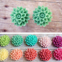 "Pair of Chrysanthemum Plugs - Tons of Colors - Handmade Girly Gauges - 2g, 0g, 00g, 7/16"", 1/2"""