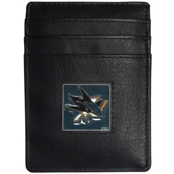San Jose Sharks® Leather Money Clip/Cardholder Packaged in Gift Box HCH115