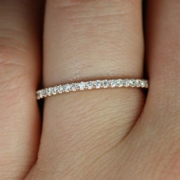 14kt Matching Band to Tabitha 8x5,9x6mm/Lisette/Carrie/Sasha/8/9mm Kubian Diamonds HALFWAY Eternity Band (Other Metals Available)