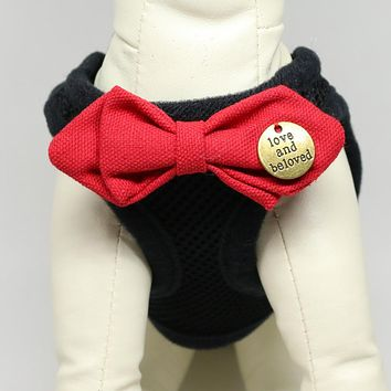 Puppy harness with bow tie, Racing Red bow tie, Mesh harness, Lightweight, Breathable, Comfortable,Washable harness,Custom harness