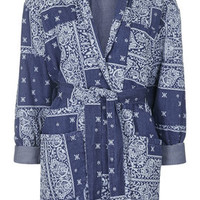 MOTO Printed Quilted Jacket - Navy Blue