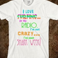 I LOVE SURFING SHARK PARODY SUMMER BEACH SHIRT
