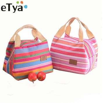 eTya Fashion Stripe Insulated Lunch Bag Fresh Cooler Thermal Food Storage Lunch Box Travel Picnic Tote Bags for Women Girls Kids