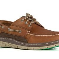 Sperry Top-Sider Ultralight Billfish 3 Eye Boat Shoe for Men in Tan and Green STS10673