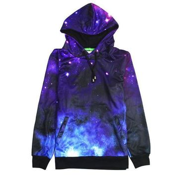 MDIGNQ2 Fashion Casual Galaxy Print Long Sleeve Top Sweater Pullover Sweatshirt Hoodie
