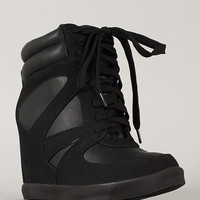 Bamboo Jodie-03 High Top Lace Up Wedge Sneaker