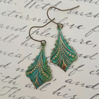 Turquoise Green Earrings Patina Filigree Earrings by PinkLaLou