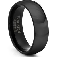 8MM Tungsten Carbide Mens/Ladies/Unisex Polished Black Classic Styled Comfort Fit Wedding Band Ring (Available Sizes 4-11 Including Half Sizes)