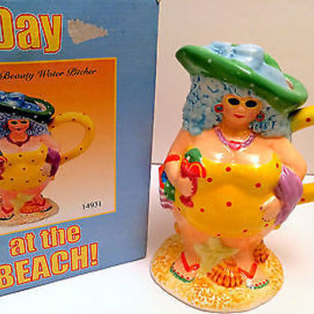 Day At The Beach Bathing Beauty Water Pitcher, Lady in Swimsuit Ceramic 2004 NIB