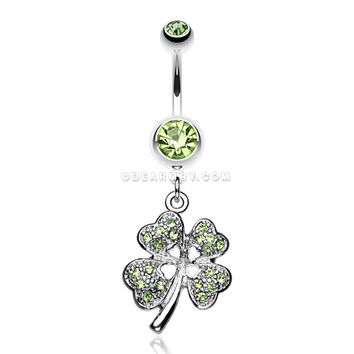 Classic Four Leaf Clover Sparkle Belly Ring (Light Green)