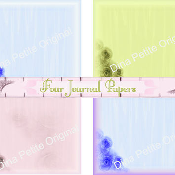 Journal Papers / Four Pages / Printable Art Paper / Decorative Pages / Shabby Chic Art / Instant Art / Scrapbook Projects / Floral Art