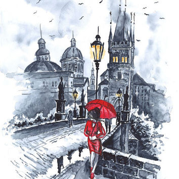 Print from Original Watercolor  Illustration City Art Cityscape Romantic Art Painting Black and White tittled Red Drop Valentins Day