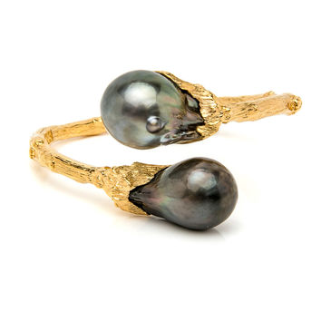 Gold Tahitian Pearl Bypass Cuff