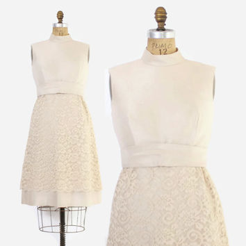 Vintage 60s DRESS / 1960s Ivory Raw Silk & Lace Casual Bridal Wedding Dress M
