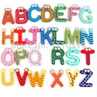 26pcs/set Unisex Kids Educational Toy Wood Letters A-Z  Alphabet Learning Fridge Magnet 26 pcs  aimant