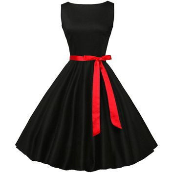 Partiss Women Classy Audrey Hepburn 1950s Vintage Rockabilly Swing Dress