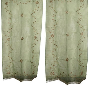 Mogulinterior Sheer Organza Curtains Star Burst Green Mirror Embroidered Window 2 Panels