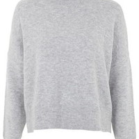 Zip Back Roll Neck Sweater - Light Grey