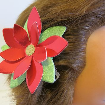 Poinsettia Hair Barrette, Red Foil Flower Petals and Glitter Paper Leaves, Handmade Festive Accessory