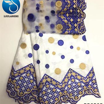 LIULANZHI bazin riche getzner tissu cotton fabric african patchwork white african riche dresses new 7yards/lot for clothing PB05