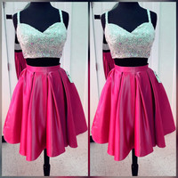 Pink Two Pieces Crystal Sequins V Neck Homecoming Dress, Short Homecoming Dresses