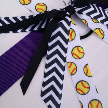 black and purple softball hair streamers, team hair bows,  chevron ponytail ribbon, baseball ribbon hair tie, fastpitch bow, yellow softball