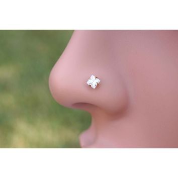 Diamond Square Rose Gold Nose Stud