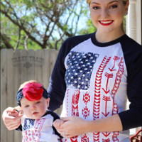 Mommy and Me Flag Baseball Tee