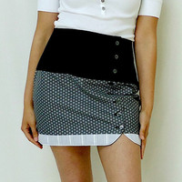 Vintage Inspired Mini Skirt Reversible Gray by ReverseClothing