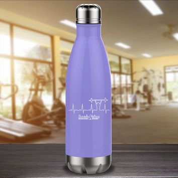Barbell Heartbeat Laser Etched Water Bottle