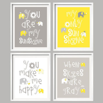 Bathroom Art Yellow Gray Decor Elephant Bathroom Decor You are my sunshine, sunshine wall art, kids wall art by YassisPlace (GSEB-002)