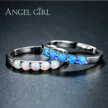 Angel Girl Simple Ring Round White Pink Blue/white Fire Opal Rings for Women Trendy Engagement Wedding Jewelry anillos R74-60912