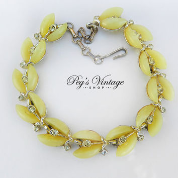 Yellow Moonglow Lucite Bracelet, Lisner Designer, Vintage Thermoset Rhinestone Jewelry, Gift for Her