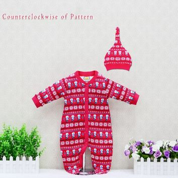 Newborn romper cotton baby clothing boys rompers+hat 2 pieces/set long-sleeved  christmas kids pajamas toddler clothes