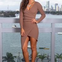 Taupe Short Dress with Long Sleeves