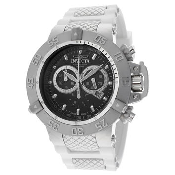 Invicta 14001 Men's Subaqua Noma III Black Dial White Rubber Strap Chronograph Dive Watch