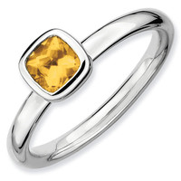 Cushion Cut Citrine Stackable Ring